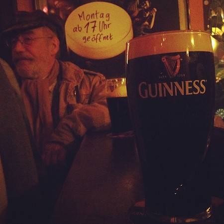 Happy St. Paddy's from Berlin: A Man and his Guinness. Although the Guinness on tap may not have lived up to the pints we've quaffed in Ireland, the potty-mouthed storyteller of an Irish woman (not pictured) next to us certainly did. via Instagram http://ift.tt/Npou34