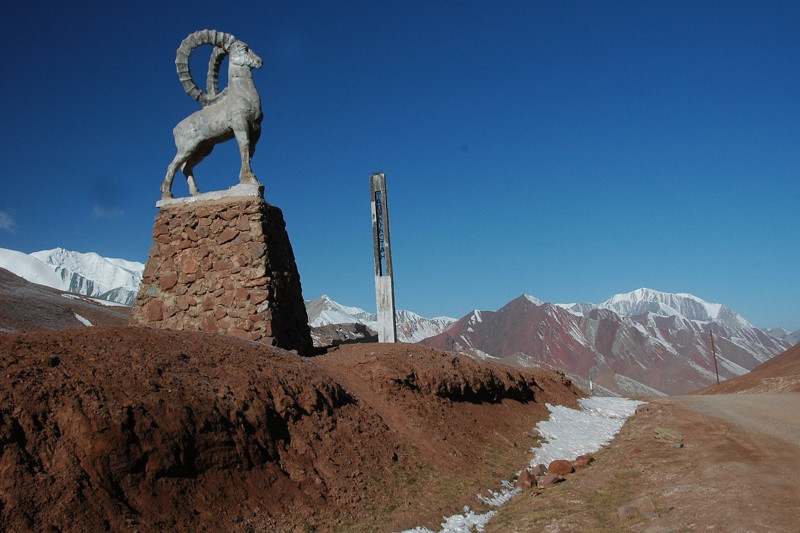 Marco Polo Sheep Statue - Tajikistan to Kyrgzystan