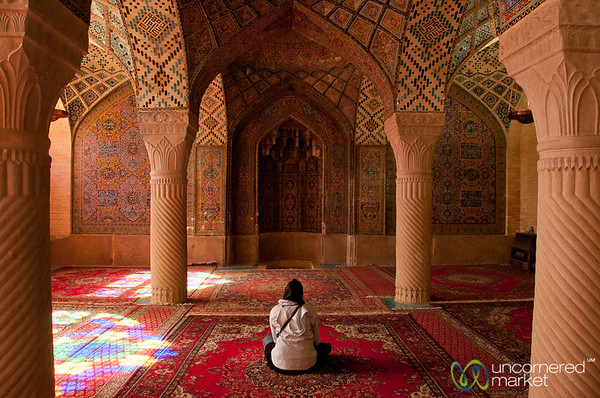 Audrey in the Pink Mosque - Shiraz, Iran