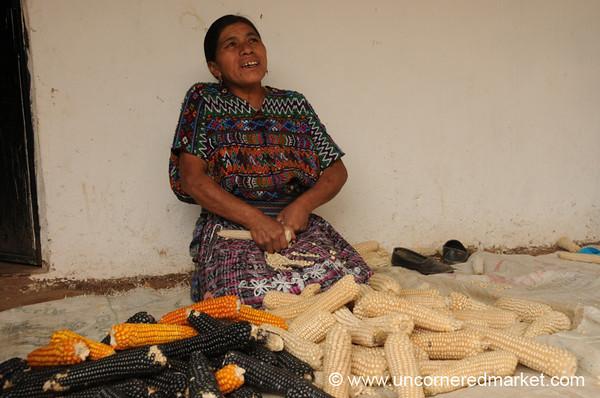 Kiva Borrower, Scraping the Corn - Panicuy, Guatemala