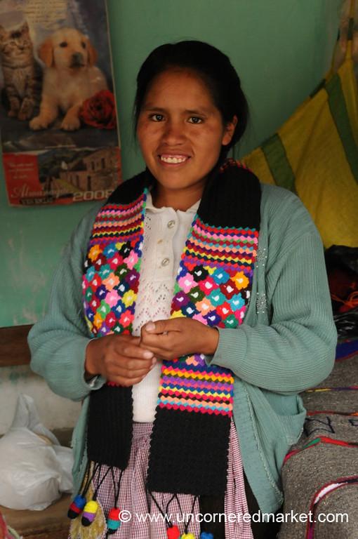 Showing Off Her Products - Yauli, Peru