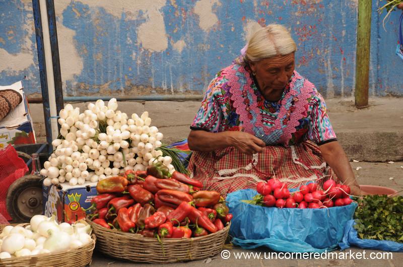 Colorful Fruits and Indigenous Vendor - Xela, Guatemala