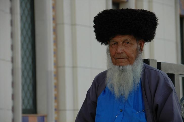 Elderly Man at Saparmyrat Hajii Mosque - Geok-Depe, Turkmenistan