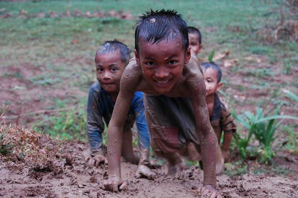 Children Playing in Mud - Battambang, Cambodia