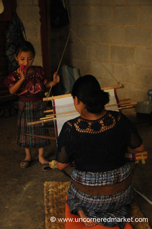 Mother and Daughter, Backstrap Weaving - San Pedro Sacatepequez, Guatemala