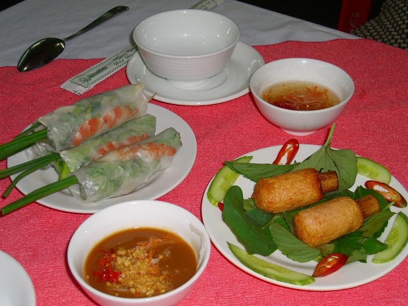 Fresh Spring Rolls and Shrimp Cooked on Sugar Cane - Saigon, Vietnam