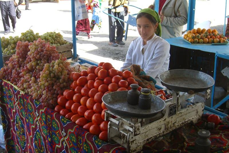 Tomatoes and Grapes at Dushanbe Market - Tajikistan