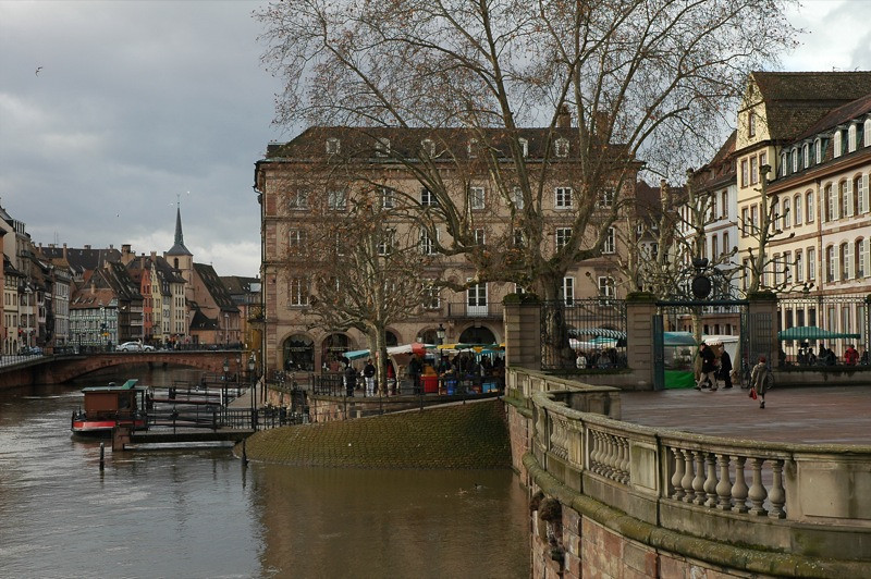 Ill River and Suckling Pig Market - Strasbourg, France
