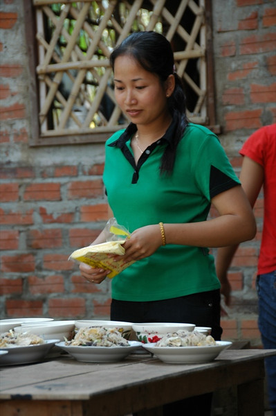 Bride Looking at Food - Battambang, Cambodia