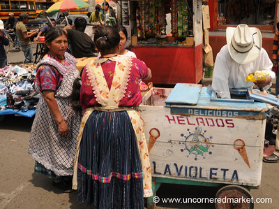 Indigenous Women Buying Ice Cream - Xela, Guatemala