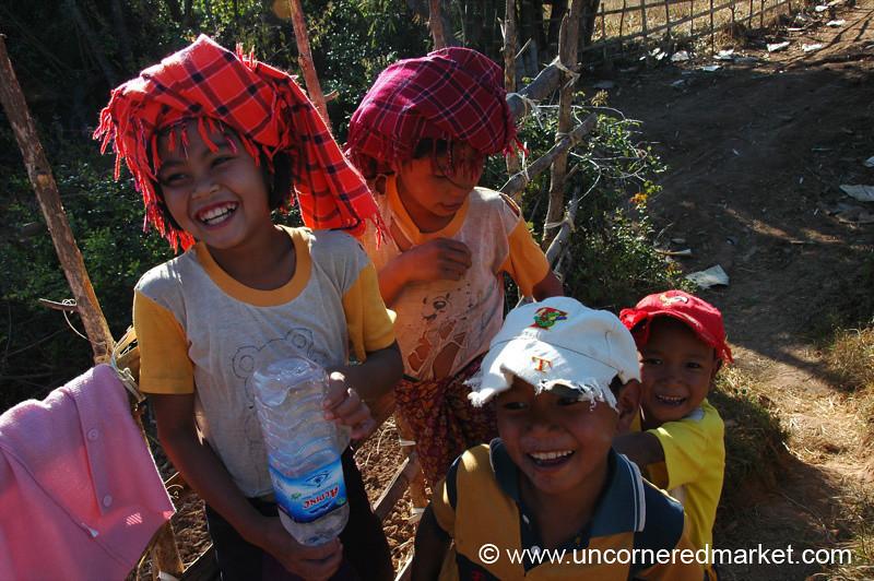 Smiling Kids with Water Bottle - Inle Lake, Burma