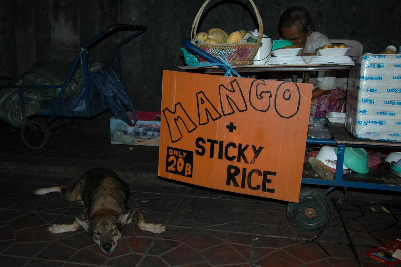 Napping Dog Under A Sign - Bangkok, Thailand