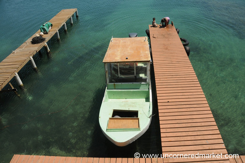 Boat on the Dock - Utila, Honduras