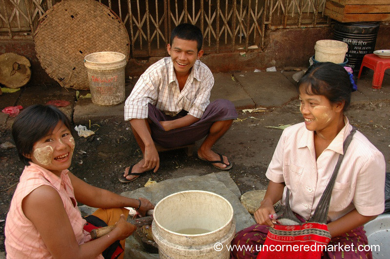 Laughing Vendors at Market - Rangoon, Burma (Yangon, Myanmar)