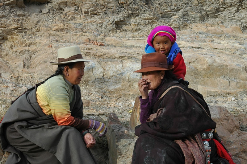 Resting Tibetan Pilgrims - Xiahe, China