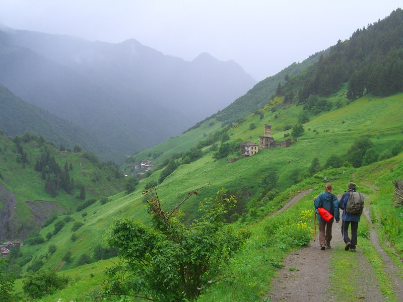Trekking in Foggy Mountains - Svaneti, Georgia