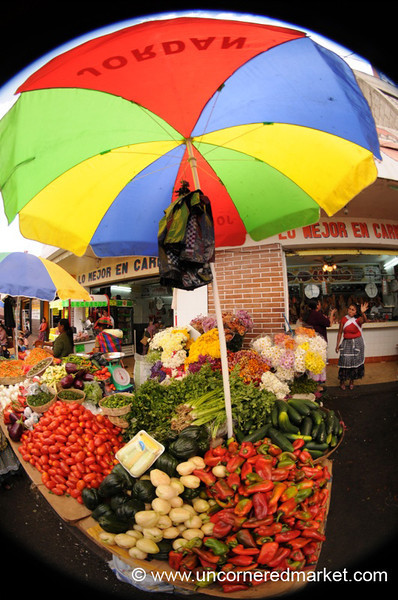Veggies Under a Colorful Umbrella - Xela, Guatemala