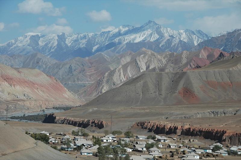 Village in Valley - Osh to Sary Tash, Kyrgyzstan