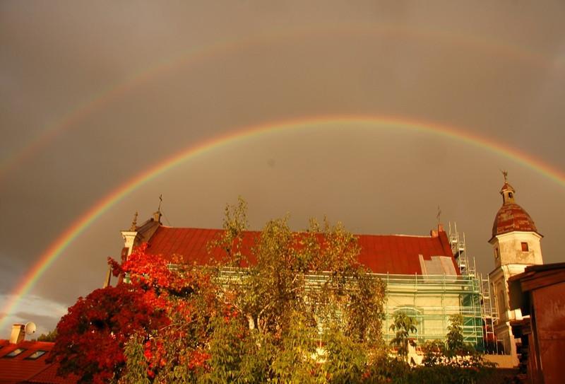 Double Rainbow over St. Teresa Church - Vilnius, Lithuania