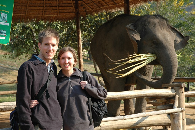 Dan and Audrey with Elephant - Lampang, Thailand