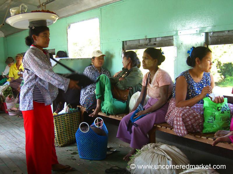 Vendor Balances Tray on Circular Train - Rangoon, Burma (Yangon, Myanmar)