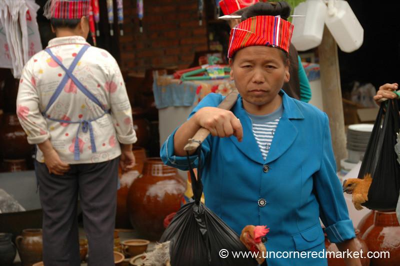 Miao Woman Going Home from Market - Guizhou Province, China