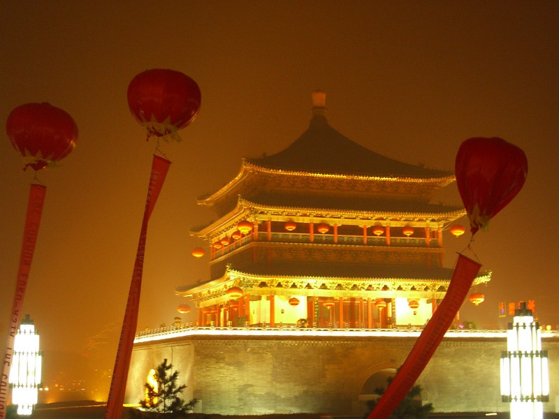 Xi'an's Bell Tower at Night - Xi'an, China