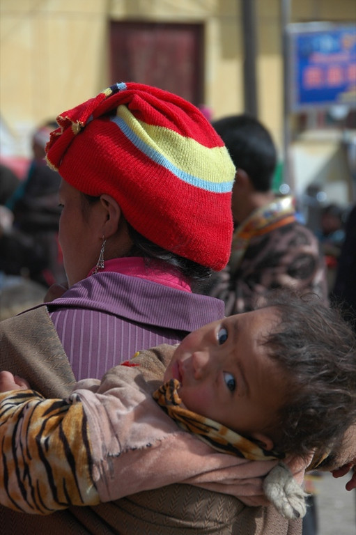 Baby on Mother's Back - Xiahe, China