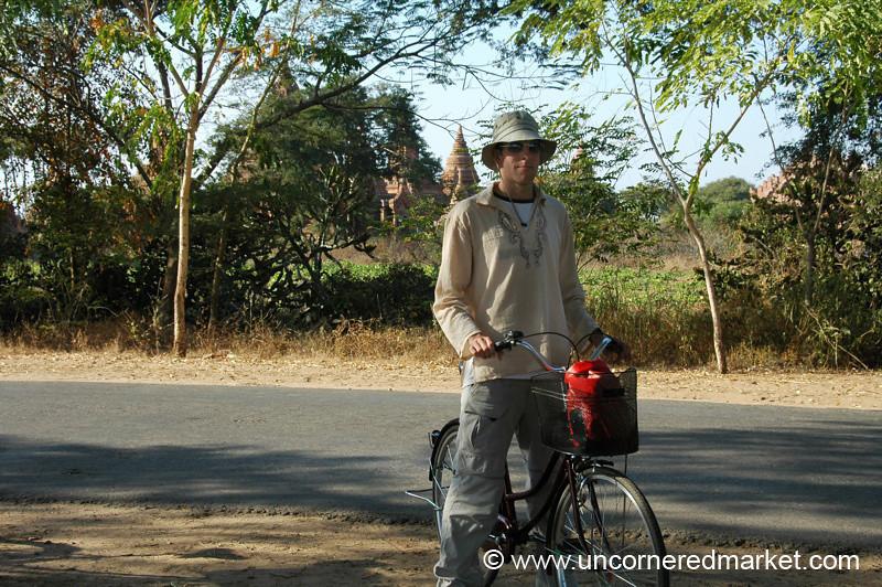 Dan Biking Around Temples in Bagan, Burma