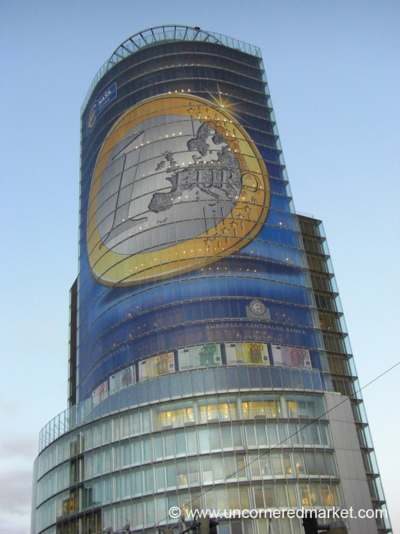 Euro Coin On Building - Bratislava, Slovakia