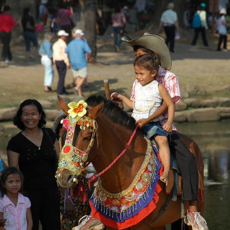 Children Atop A Horse - Angkor Wat, Cambodia