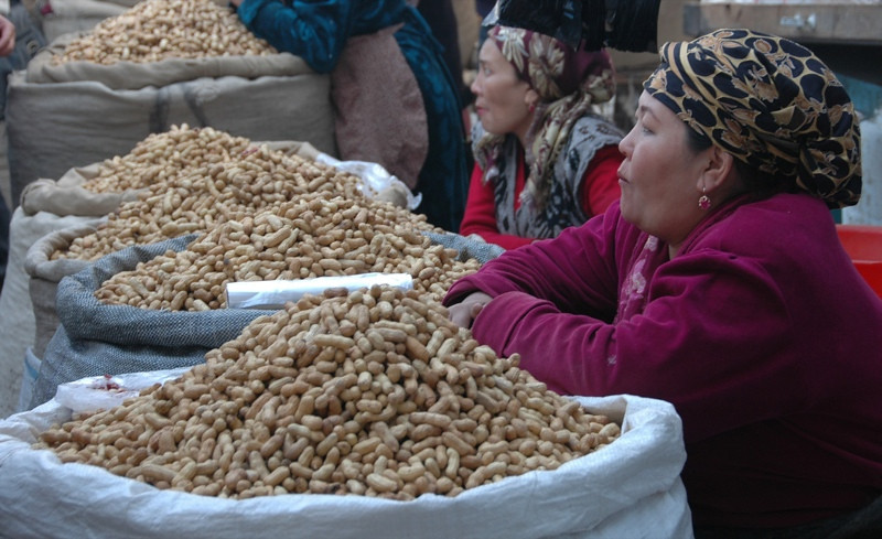 Peanuts for Sale at Osh Market, Kyrgyzstan