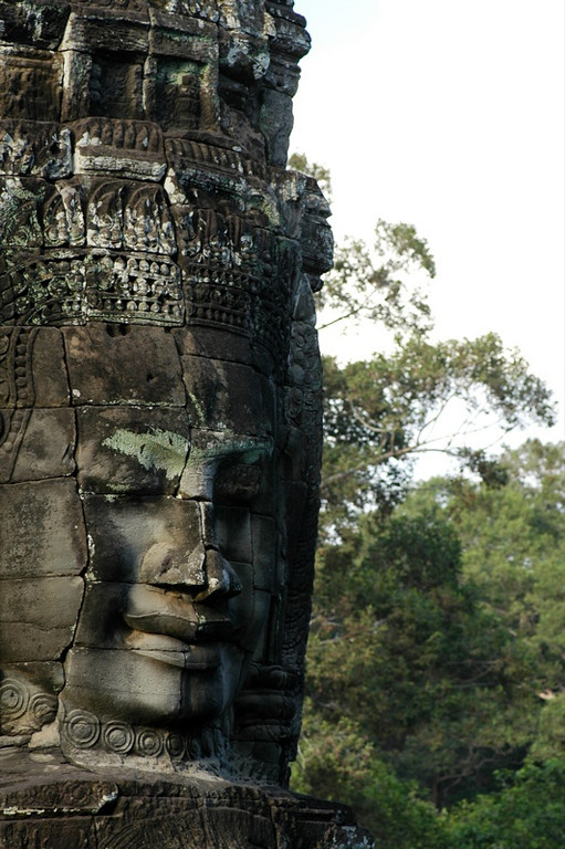 One of Bayon's Many Faces - Angkor, Cambodia