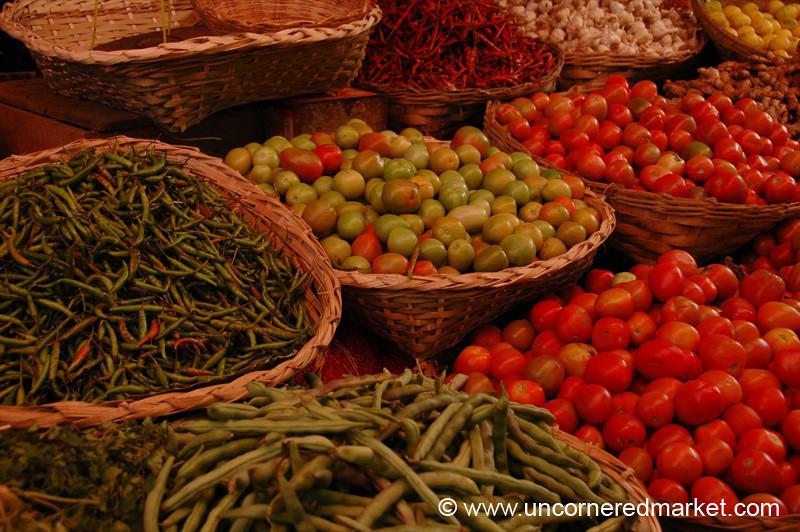 Tomatoes and Chillies at Kalaw Market, Burma