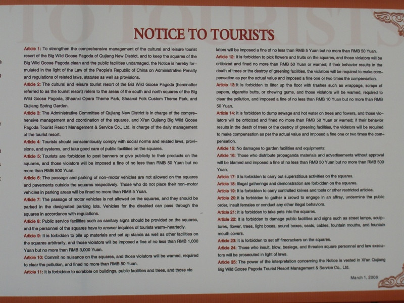 Notice to Tourists - Xi'an, China