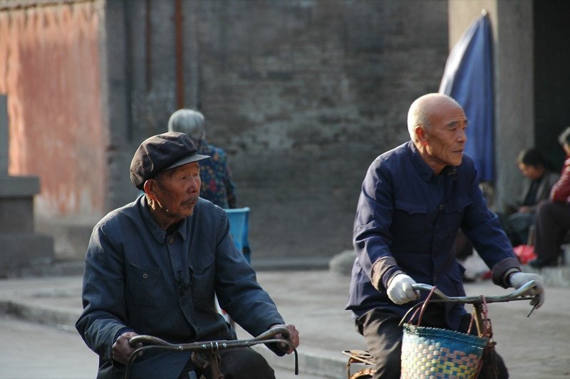 Old Chinese Friends on Bikes - Pingyao, China