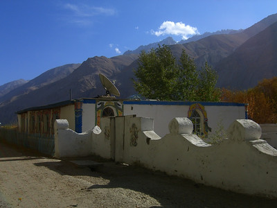 Satellite dish on Traditional Pamiri House - Langar, Tajikistan