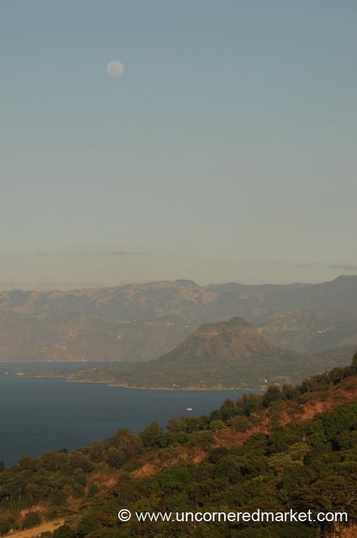 Moon, Lake and Mountains - Lake Atitlan, Guatemala