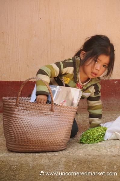 Guatemalan Girl and Bag - Totonicapan, Guatemala