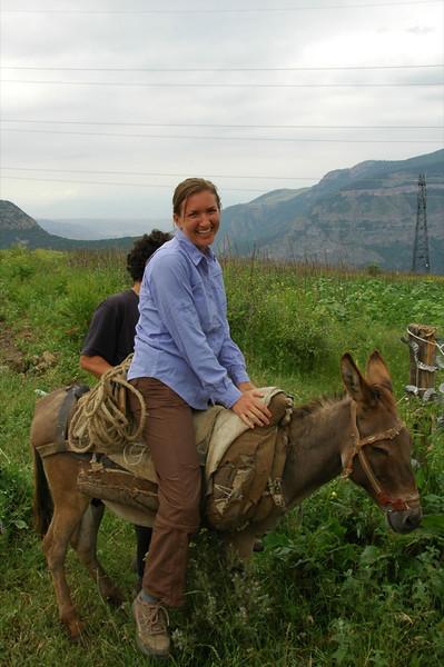 Audrey Riding on a Donkey - Tatev, Armenia