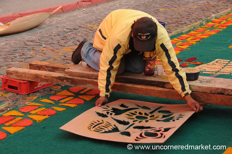 Stencil for the Alfombra, Semana Santa - Antigua, Guatemala