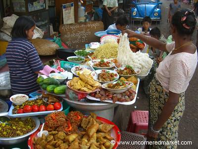 Burmese Food, Samosa and Street Food Stand - Rangoon, Burma (Yangon, Myanmar)