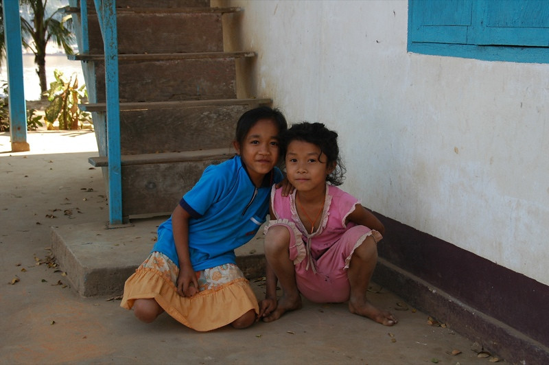 Two Girls Playing - Luang Prabang, Laos