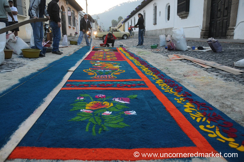 Semana Santa, Sawdust Carpet - Antigua, Guatemala