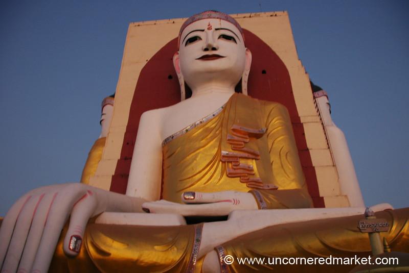 Seated Buddha at Kyaik Pun Pagoda - Bago, Burma