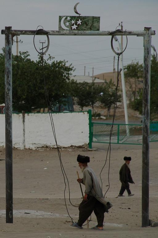 Elders Out for A Stroll - Jerbent, Turkmenistan
