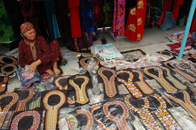 Embroidered Necklines at Tolkuchka Market - Ashgabat, Turkmenistan