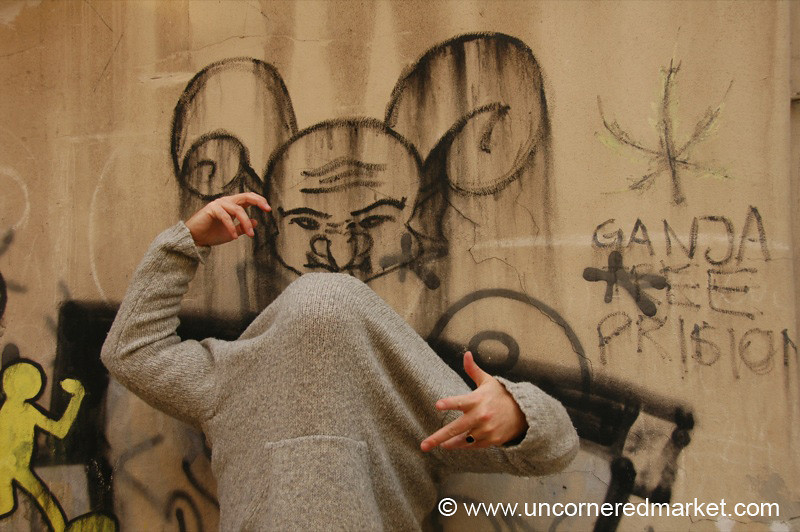 Faceless Friend and Graffiti - Vilnius, Lithuania