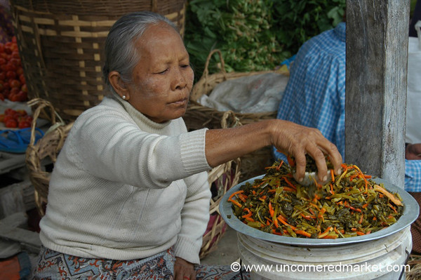 Selling Pickled Vegetables - Inle Lake, Burma