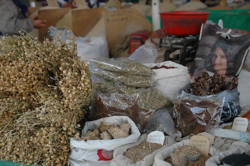 Purifying Herbs at Market - Dushanbe, Tajikistan